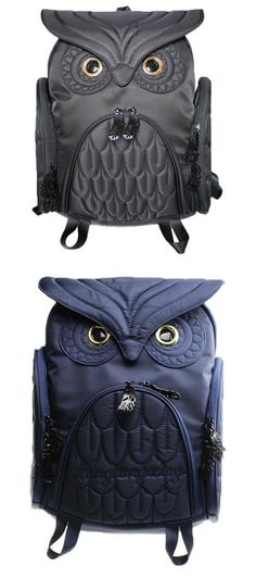 Cute Cartoon Owl Bird Stitched Patten Leather Fashion Backpack