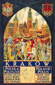 ~    vintage Cracow Krakow Poland     ~~         Polish railway travel poster   ~