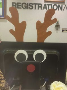 Rudolph cutout for the back of your computer monitor
