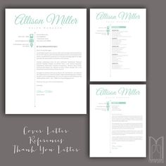Resume Template and Cover Letter Template by MYPAPERPIG on Etsy Modern Resume Template, Creative Resume Templates, Resume Writing Tips, Thank You Letter, Cover Letter Template, Professional Resume, Lettering, Header, Words