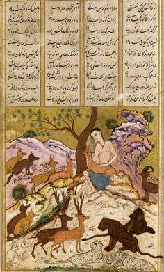 ca. 1630. Majnun and the Animals from the Khamsa of Nizami. Safavid period, style of Mu'in Musavvir. Persia