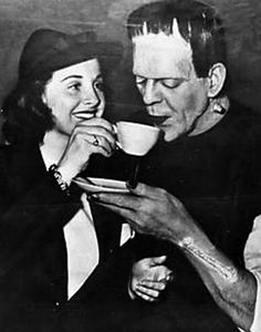 Boris Karloff as Frankenstein drinking tea on set of Son of Frankenstein (1939)
