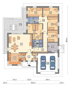 Rzut MR MURATOR M122a PORANNA MGŁA - WARIANT I CE Bungalows, Luxury Apartments, Architecture, Planer, Tiny House, House Plans, Villa, Floor Plans, Home And Garden