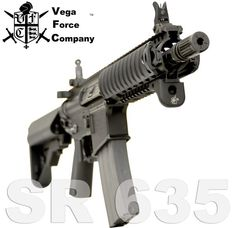 VFC's rerelease of the KAC SR635 features beautifully engraved trademarks on the lower receiver. It is true in detail to the real KAC rifle which is chambered in 6x35mm but built on a common 5.56 lower. VFC continues to make some of the most beautifully accurate rifles in airsoft.