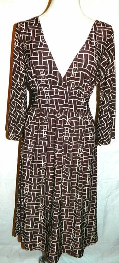 BCBG Max Azria Brown Geometric Print 3/4 Sleeve Kimono Style Dress- Size XL