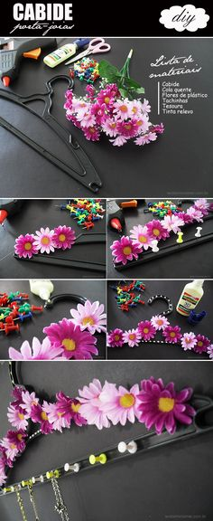 Faça você mesma: cabide porta-joias Diy Flowers, Paper Flowers, Cool Diy Projects, Projects To Try, Do It Yourself Decoration, Diy And Crafts, Crafts For Kids, Creation Art, Ideias Diy