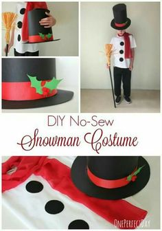 Weihnachtskostme fr die Schule christmas costumes for kids No-Sew Snowman Costume for Kids - awesome! Love this simple snowman costume! Would be perfect for school play! Christmas Present Costume, Diy Christmas Costumes, Christmas Dress Up, Christmas Program, Christmas Concert, Holiday Costumes, Diy Costumes, Ugly Christmas Sweater, Kids Christmas
