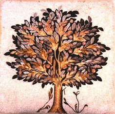 "Roman-Byzantine Mosaic of a Large Fruit Tree - PF.5317 Origin: Mediterranean Circa: 300 AD to 600 AD Dimensions: 61"" (154.9cm) high x 62.25"" (158.1cm) wide Collection: Classical Style: Late Roman/Early Byzantine Medium: Mosaic"