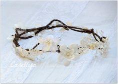 Flower Crown Lace Headpiece  Woodland Wedding  by carellya on Etsy, $75.00