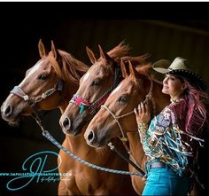 Barrel racing star Fallon Taylor and her three chestnut mares. Cowgirl Quote, Cowgirl And Horse, Cowgirl Style, Southern Belle Secrets, Southern Girls, Barrel Racing Horses, Barrel Horse, Country Girl Quotes, Southern Quotes