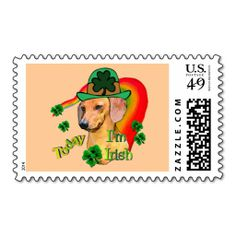 St. Patrick's Day Dachshund Stamps. Make your own business card with this great design. All you need is to add your info to this template. Click the image to try it out!