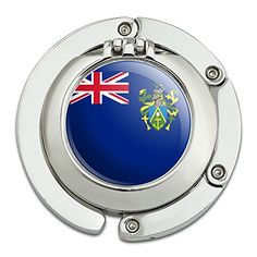 Graphics and More The Pitcairn Islands National Country Flag Foldable Table Bag Purse Caddy Handbag Hanger Holder Hook with Folding Compact Mirror