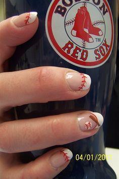 baseball french manicure | basebal nails nails art nails design redsox baseball nails nails ...