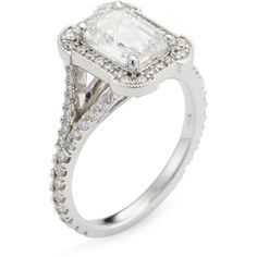 Nephora 1.99 Total Ct. Diamond Emerald Cut Engagement Ring, GIA... ($11,195) ❤ liked on Polyvore featuring jewelry, rings, white, 14 karat white gold ring, white ring, diamond engagement rings, emerald cut diamond ring and diamond band ring