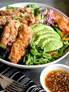Japanese Fried Chicken Salad with Sesame Soy Dressing | Sweet Salty Tart