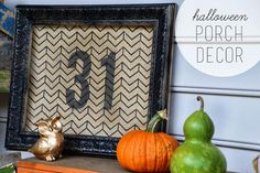 DIY Fall & Halloween Porch Decor.  Burlap Frame, Pallet porch idea and more!