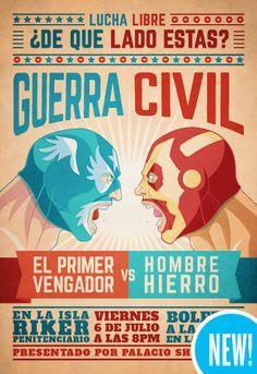 Superhero Lucha Libre Fighters Face Off in Art Series by Ninjabot Mexican Wrestler, Comic Art, Comic Books, Catch, Fox Kids, Otaku, Mexican Designs, Art Series, Face Off
