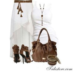 """Great for a White Party: Stylish Eve Fashion Guide: Summer 2013 Hi-Low Skirts Cute Summer Outfits, Casual Outfits, Cute Outfits, Fashion Outfits, Summer Clothes, Skirt Outfits, Ladies Outfits, Casual Dressy, Fashion Skirts"