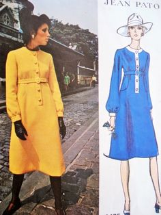 Classy 70s PATOU Dress Pattern Vogue Paris Original 2475 Day or Evening  Empire Dress Regular, Midi and Formal Floor Length  Bust 31.5 Vintage Sewing Pattern