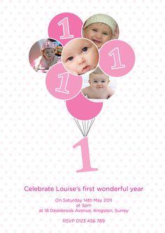 PRINTABLE personalised custom pink balloon 1st by InvitesbyEmma, £9.00