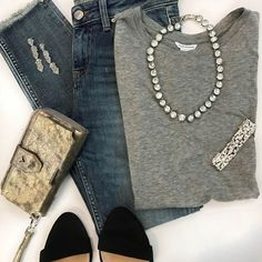 A splash of sparkle amps up even our basic grey tee and jeans. When you attend a Trunk Show this month, you can get these beauties for 50% off! #stelladotstyle