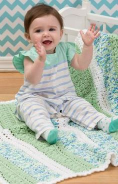 Textured Stripes Baby Blanket Free Crochet Pattern from Red Heart Yarns