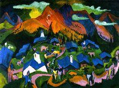 Oh, delightful! A Kirchner I haven't seen. Ernest L. Kirchner (1880-1938), Ruckkehr der Tiere, 1919.