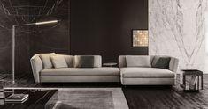 meuble salon design et canapé modulable Seymour conçu par Minotti