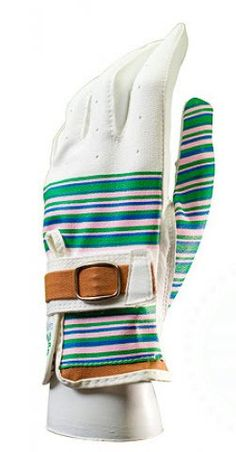 Slam Glam - LilyBeth Ladies Designer Spring Stripe Buckled Golf Glove, $24.99 Fashionable golf gloves!  Beautiful leather. #lilybethgolf #ladiesgolfgloves