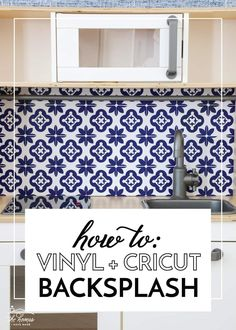 Ready to give your kitchen an easy, affordable, and temporary upgrade? Learn how easy it is to make a vinyl backsplash with your Cricut machine! Vinyl Tile Backsplash, Moroccan Tile Backsplash, Kitchen Backsplash, Ikea Play Kitchen, Real Kitchen, Kitchen Decor, Tile Projects, Cool Diy Projects, Project Ideas