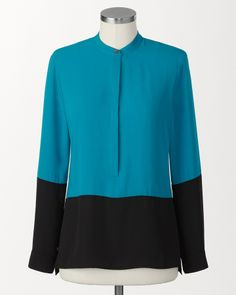 Coldwater Creek Turquoise colorblock shirt on shopstyle.com