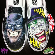 Batman vs The Joker Custom Painted Vans slip on by MonsterMacDesigns Source by paintorthread Shoes Painted Canvas Shoes, Custom Painted Shoes, Painted Vans, Painted Sneakers, Hand Painted Shoes, Custom Vans Shoes, Custom Sneakers, Creative Shoes, Cool Vans