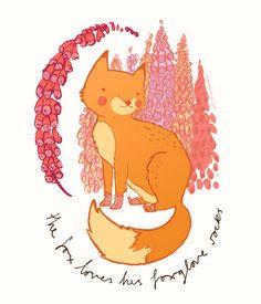 The fox loves his foxglove socks!