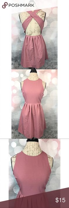 Dusty Rose Pink Cross-back Dress Dusty rose pink F21 dress with pleated waist and Cross Back style! Size S! Forever 21 Dresses Mini