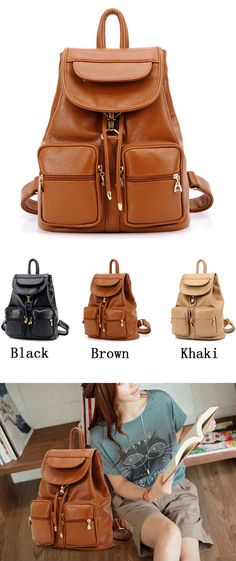 College Style Fashion Multi-pocket Leather Backpack only $46.99