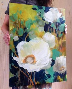 Large white flower painting. I love the depth made with the blue. Jess Franks