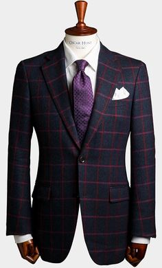 Navy with pink/red windowpane check jacket