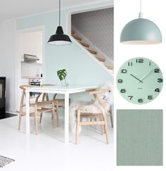 Mint Green and White Dining Room