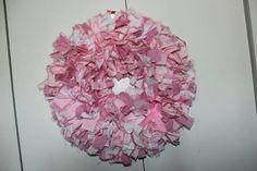"Breast Cancer Awareness Pink Ribbon 17""  Rag Wreath. $35.00, via Etsy."