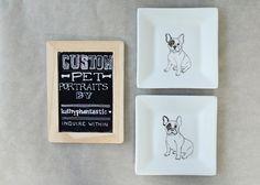 Custom Hand Drawn Dog Portrait Plate.