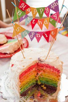 Gorgeous rainbow birthday cake and birthday bunting