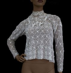 Gorgeous crocheted blouse....Irish crochet lace blouse, c.1900