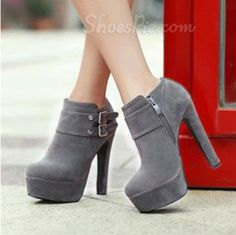 amazing Elegant Gray Suede Chunky Heel Ankle Boots