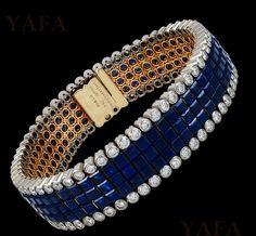 Van Cleef & Arpels Diamond and Invisibly-Set Sapphire Bracelet