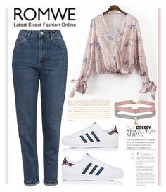 """""""Romwe = floral blouse"""" by sombre-lune ❤ liked on Polyvore featuring Miss Selfridge, adidas and Topshop"""