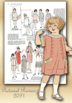 Pictorial Review 2091 Vintage Sewing Pattern 1920s Adorable Girls Dress Size 4 Unused Factory Folded Here is an adorable nostalgic float dress