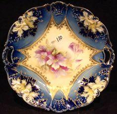 RS Prussia Porcelain cobalt cake plate having Clematis decor. circa 1880-1920