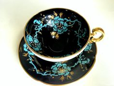 Hey, I found this really awesome Etsy listing at https://www.etsy.com/listing/178920586/black-old-royal-tea-cup-and-saucer-hand