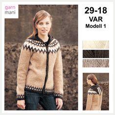 29-18 VAR - Modell 1 - Garnmani.no - Spesialist på islandsk ull Ravelry, 18th, Fur Coat, Pullover, Sweaters, Black, Fashion, Scale Model, Moda