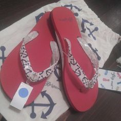 a69c2e54a Shop Women s Brighton Red size 7 Slippers at a discounted price at  Poshmark. Description  New Pair of women s Brighton Nautical Flip Flops  with dust bag.